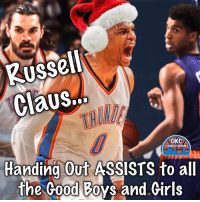 Memes, Okc Thunder, and 🤖: Russell  CaUS...  OKC  THUNDER MEMES  Handing Out ASSISTS to all  the Good Boys and Girls Hahaha. 😂😂😂 He's in the giving mood...  ThunderUp!!!