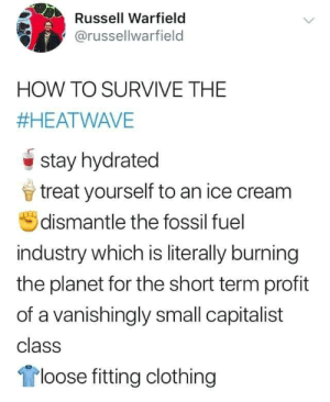 Nice: Russell Warfield  @russellwarfield  HOW TO SURVIVE THE  #HEATWAVE  stay hydrated  treat yourself to an ice cream  dismantle the fossil fuel  industry which is literally burning  the planet for the short term profit  of a vanishingly small capitalist  class  loose fitting clothing Nice