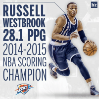 @russwest44 edges out @jharden13 and is your 2014-15 scoring champ! @okcthunder players have won the last two scoring titles! 🏀🏀🏀: RUSSELL  WESTBROOK  28.1 PPG  2014-2015  NBA SCORING  CHAMPION  br  ING. @russwest44 edges out @jharden13 and is your 2014-15 scoring champ! @okcthunder players have won the last two scoring titles! 🏀🏀🏀