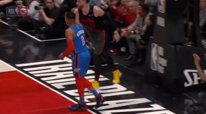 Russell Westbrook knocks Nurkic to the ground after Nurkic tried to trip him.   (Via @UpTheThunder)   https://t.co/mScQcQn1fP: Russell Westbrook knocks Nurkic to the ground after Nurkic tried to trip him.   (Via @UpTheThunder)   https://t.co/mScQcQn1fP