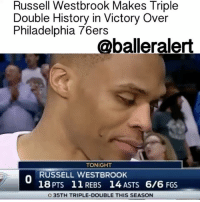 """Russell Westbrook Makes Triple Double History in Victory Over Philadelphia 76ers – blogged by @MsJennyb ⠀⠀⠀⠀⠀⠀⠀⠀⠀ ⠀⠀⠀⠀⠀⠀⠀⠀⠀ As RussellWestbrook continues his legendary run, on the verge of breaking 50-year-old triple double record, the OklahomaCity point-guard is making history in the meantime. ⠀⠀⠀⠀⠀⠀⠀⠀⠀ ⠀⠀⠀⠀⠀⠀⠀⠀ Last night, in the team's blowout victory over the Philadelphia 76ers, Westbrook posted his 35th triple double. Although at this point triple doubles have become a norm for the MVP candidate, last night was extra special for Westbrook as he became the first baller in history to record the NBA's first perfect triple double. ⠀⠀⠀⠀⠀⠀⠀⠀⠀ ⠀⠀⠀⠀⠀⠀⠀⠀⠀ Westbrook finished the game with 18 points, 14 assists and 11 rebounds, all while shooting 6-of-6 from the field and 6-of-6 from the free-throw line. Subsequently, becoming the first in NBA history to post a triple-double without missing a single shot. ⠀⠀⠀⠀⠀⠀⠀⠀⠀ ⠀⠀⠀⠀⠀⠀⠀⠀⠀ """"[I] watched some film and just [tried] to pick my shots better, find ways to get my teammates involved throughout the game. Just happy to win,"""" Westbrook said, following his historic win. ⠀⠀⠀⠀⠀⠀⠀⠀⠀ ⠀⠀⠀⠀⠀⠀⠀⠀⠀ According to BleacherReport, the perfect shooting triple double wasn't the only first for the baller last night. Apparently, it was the first-time Westbrook sank all of his shots and the first time he didn't take a shot from behind the arc in 83 games. ⠀⠀⠀⠀⠀⠀⠀⠀⠀ ⠀⠀⠀⠀⠀⠀⠀⠀⠀ With just 11 games left, Westbrook is still averaging a triple-double, on pace to break Oscar Robertson's 1961-62 record of triple doubles in a season.: Russell Westbrook Makes Triple  Double History in Victory Over  Philadelphia 76ers  @balleralert  TONIGHT  RUSSELL WESTBROOK  18 PTS 11 REBS 14, ASTS 6/6 FGS  O 35TH TRIPLE-DOUBLE THIS SEASON Russell Westbrook Makes Triple Double History in Victory Over Philadelphia 76ers – blogged by @MsJennyb ⠀⠀⠀⠀⠀⠀⠀⠀⠀ ⠀⠀⠀⠀⠀⠀⠀⠀⠀ As RussellWestbrook continues his legendary run, on the verge of breaking 50-year-old triple double record, the Okla"""