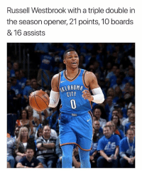 Basketball, Nba, and Russell Westbrook: Russell Westbrook with a triple double in  the season opener, 21 points, 10 boards  & 16 assists  KLAHOM  CITY  OKC Triple double machine 👀 nbamemes nba okcthunder via @rtnba