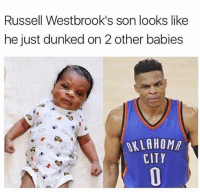 Hahahahahahahahaha: Russell Westbrook's son looks like  he just dunked on 2 other babies  ALLAHOMA  CITY Hahahahahahahahaha