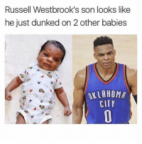 😂😂😭: Russell Westbrook's son looks like  he just dunked on 2 other babies  OKLAHOMA  CITY 😂😂😭
