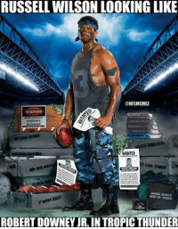 Russell Wilson's new poster is... Something Credit: Westside OG: RUSSELL WILSON LOOKING LIKE  ONFLMEMEZ  WARNING  OFENSIVE  PERSPECTIVE  TARD BOMBS  LEuREADERS  N WANTED  RUSSELL W  MAGIC RUSSS  BALLS  POowN DAG OF TRICIOS  ROBERT DOWNEY JR. IN TROPIC THUNDER Russell Wilson's new poster is... Something Credit: Westside OG