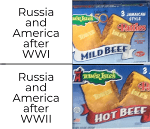Hot beef with a Cold War: Russia  and  America  after  WWI  CaldeB  3 JAMAICAN  STYLE  weR TSTES  Panstres  ISLES  TowER  MILD BEE  3.  Russia  and  America  after  WWII  TWD ISTES  ISLES  TosER  HOT BEEF Hot beef with a Cold War