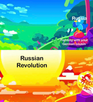 History, Revolution, and Russia: Russia  Fighting with your  German cousin  Russian  Revolution RA RA RASPUTIN