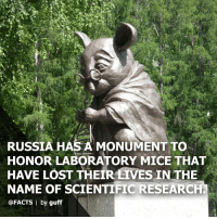 Creepy, Facts, and Memes: RUSSIA HAS A MONUMENT TO  HONOR LABORATORY MICE THAT  HAVE LOST THEIR LIVES IN THE  NAME OF SCIENTIFIC RESEARCH  @FACTS I by guff Cool or creepy? 🐭 (thanks @facts!) science russia mice