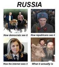 Dank, Internet, and Putin: RUSSIA  How democrats see it How republicans see it  How the internet sees it  What it actually is Don't trust the mainstream media. Let me make things clear for you.  Pls don't hack me for this, Putin.