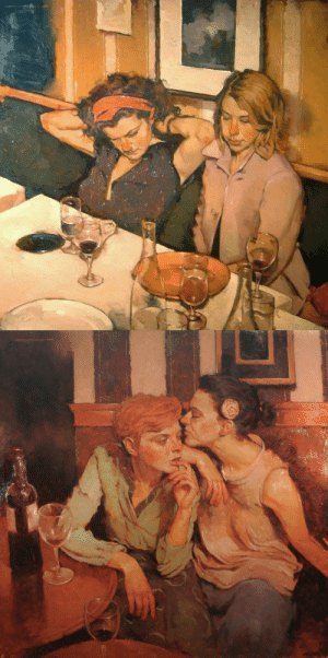 russiacore: Recognising lesbian couples in art gives me a warm feeling. paintings by Joseph Lorusso.: russiacore: Recognising lesbian couples in art gives me a warm feeling. paintings by Joseph Lorusso.