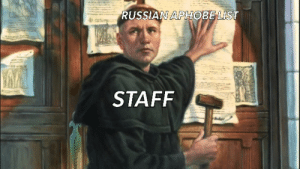 Russian, List, and Staff: RUSSIAN APHOBE LIST  LIC .  STAFF