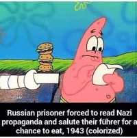 Lest we forget.: Russian prisoner forced to read Nazi  propaganda and salute their führer for a  chance to eat, 1943 (colorized) Lest we forget.