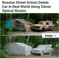 🚘 | follow @fuckersbelike for more: Russian Street Artists Delete  Car In Real World Using Clever  Optical Illusion  Swipe -* 🚘 | follow @fuckersbelike for more