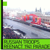 Reenactment: RUSSIAN TROOPS  REENACT 1941 PARADE