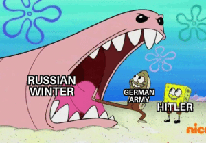 Winter, Army, and Russian: RUSSIAN  WINTER  GERMAN  ARMY  HIFLER  nic What can go wrong?
