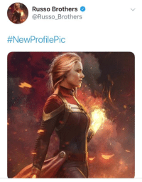 Love, Memes, and Marvel: Russo Brothers  @Russo_Brothers  The Russo Brothers updated their profile picture with BossLogic Inc​'s Captain Marvel artwork.  (Nerds Love Art)