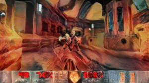 Smooth, Tumblr, and Videos: rustdustandguts:  petrak:  kingdomakrillic: Used a neural network to make Doom gameplay look like the Doom box art. Render time: 6 hours and 5 minutes on a GTX 1050 TI Length: 306 frames Program: manuelruder/artistic-videos. There are much faster style transfer programs for video, but they all either sacrifice quality or don't support arbitrary style images Doom wads: Thunderpeak, Smooth Doom  @rustdustandguts !!!!!!!!  Woah