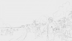 God, Hello, and Hype: rustpudding:  hello guys! just finished cleaning this one up, still messy but this is the one i mentioned the other day about something ive been working on. its massive and im scared to color and finish it tbh but its going to be fun but very challenging. this is the whole van der linde gang enjoying tahiti in summer heat!   OH MY GODHYPE