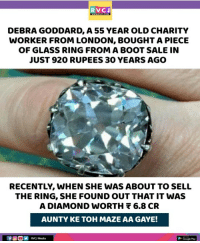 Iski toh nikal padi.. rvcjinsta: RVCJ  DEBRA GODDARD, A 55 YEAR OLD CHARITY  WORKER FROM LONDON, BOUGHT A PIECE  OF GLASS RING FROM A BOOT SALE IN  JUST 920 RUPEES 30 YEARS AGO  RECENTLY, WHEN SHE WAS ABOUT TO SELL  THE RING, SHE FOUND OUT THAT IT WAS  A DIAMOND wORTH 6.8 CR  AUNTY KE TOH MAZE AA GAYE!  RVCJ Media Iski toh nikal padi.. rvcjinsta