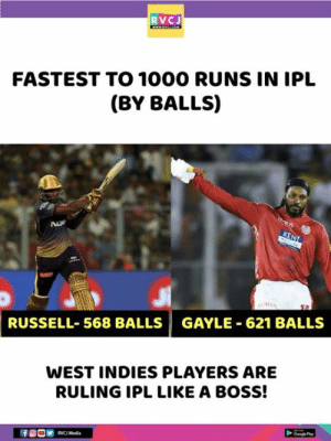 West Indians!: RVCJ  FASTEST TO 1000 RUNS IN IPL  (BY BALLS)  RUSSELL-568 BALLS | GAYLE-621 BALLS  WEST INDIES PLAYERS ARE  RULING IPL LIKE A BOSS!  RVC Media West Indians!