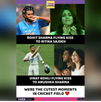 Google, Memes, and Cricket: RVCJ  PPO  ROHIT SHARMA FLYING KISS  TO RITIKA SAJDEH  VIRAT KOHLI FLYING KISS  TO ANUSHKA SHARMA  WERE THE CUTEST MOMENTS  IN CRICKET FIELD  RVCJ Media  Google Play These two moments. rvcjinsta