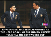 Ravi Shastri has been appointed India coach rvcjinsta: RVCJ  RAVI SHASTRI HAS BEEN APPOINTED AS  THE HEAD COACH OF THE INDIAN CRICKET  TEAM TILL THE 2019 WORLD CUP Ravi Shastri has been appointed India coach rvcjinsta