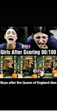 rvc: RVCJ  www.RVC COM  Girls After Scoring 90/100  RVC  www.VCI CON  Boys after the Queen of England dies