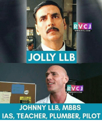 Johnny Is combination!😂😎 rvcjinsta iykwim: RVCJ  WWW. RVCJ.COM  JOLLY LLB  VC J  WWW. RVCJ.COM  Sch ile.  JOHNNY LLB, MBBS  IAS, TEACHER, PLUMBER, PILOT Johnny Is combination!😂😎 rvcjinsta iykwim