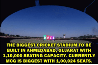 Memes, Cricket, and 🤖: RVCJ  WWW RVCU COM  THE BIGGEST CRICKET STADIUM TO BE  BUILT IN AHMEDABAD, GUJARAT WITH  1,10,000 SEATING CAPACITY. CURRENTLY  McG IS BIGGEST WITH 1,00,024 SEATS. World's largest cricket stadium to come up in Gujarat.