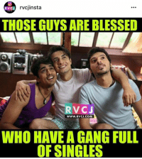 Blessed, Memes, and Gang: rvcjinsta  RVCJ  THOSE GUYS ARE BLESSED  RVC J  WWW. RVCJ.COM  WHO HAVE A GANG FULL  OF SINGLES Single gang is the BEST!