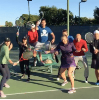 When you get a single point in a friendly tennis game against pros this is how you celebrate 🎉😜🍾 @mariasharapova @arianakukors @sventennis and more: ry. When you get a single point in a friendly tennis game against pros this is how you celebrate 🎉😜🍾 @mariasharapova @arianakukors @sventennis and more