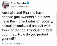 England, Memes, and Australia: Ryan Fournier  aRyanAFournier  Australia and England have  banned gun ownership but now  have the highest rates of robbery,  sexual assault, and assault with  force of the top l/ industrialized  countries. How do you protect  yourself:?  9:46 PM 19 May 18 (CS)