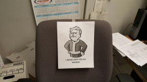 Today was my last day after being laid off. I left this on my chair before I clocked out for the last time.: RYAN GROUP  TELEPHONE (734) 522-1382  Industrial Sching  Location Codes  JANUARY  FEBRUARY 2017 MARCH  APRIL  12.3 a  9 10 11 12 13  1011  10 11  18 .19-20 .21 1.2 13-14 15-16 17 .18ト:13-14 45·16-17 ,18 |: 10 11 .12 .13 ,14 ,15  27 28 2 3031  2s 2 27 28  30 31  JULY  8.9 10.11.12.13 's'6  15 16 17 18 102012 13 14  1415 16 17 18 1  21 22 x  1101112 13 14  22  I NEVER LIKED YOU ALL  ANYWAY Today was my last day after being laid off. I left this on my chair before I clocked out for the last time.