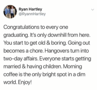 Children, Dank, and Coffee: Ryan Hartley  @RyannHartley  Congratulations to every one  graduating. It's only downhill from here.  You start to get old & boring. Going out  becomes a chore. Hangovers turn into  two-day affairs. Everyone starts getting  married & having children. Morning  coffee is the only bright spot in a dim  world. Enjoy! My days would be nothing without my morning coffee