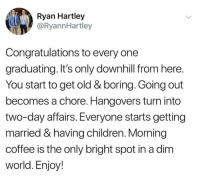 Children, Dank, and Coffee: Ryan Hartley  @RyannHartley  Congratulations to every one  graduating. It's only downhill from here.  You start to get old & boring. Going out  becomes a chore. Hangovers turn into  two-day affairs. Everyone starts getting  married & having children. Morning  coffee is the only bright spot in a dim  world. Enjoy!