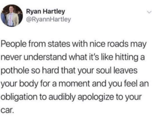 Never Understand: Ryan Hartley  @RyannHartley  People from states with nice roads may  never understand what it's like hitting a  pothole so hard that your soul leaves  your body for a moment and you feel an  obligation to audibly apologize to your  car.