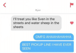 Streets, True, and Best: Ryan  l'll treat you like Sven in the  streets and water sheep in the  sheets  OMFG AHAAHAHAHHA  BEST PICKUP LINE I HAVE EVER  SEEN  L Only true veterans will understand