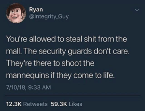 Which episode of Doctor Who is this? by diamonddigger29 MORE MEMES: Ryan  @lntegrity_Guy  You're allowed to steal shit from the  mall. The security guards don't care.  They're there to shoot the  mannequins if they come to life.  7/10/18, 9:33 AM  12.3K Retweets 59.3K Likes Which episode of Doctor Who is this? by diamonddigger29 MORE MEMES