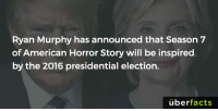 Memes, 🤖, and Horror: Ryan Murphy has announced that Season 7  of American Horror Story will be inspired  by the 2016 presidential election.  uber  facts Should be the scariest season yet...