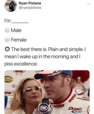 Meirl: Ryan Pistana  @ryanpistana  I'm  Male  Female  The best there is. Plain and simple. I  mean I wake up in the morning and I  piss excellence.  Wonder  OX  DENNIT Meirl