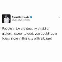 Memes, Ryan Reynolds, and Gluten: Ryan Reynolds  avancity Reynolds  People in LA are deathly afraid of  gluten. swear to god, you could rob a  liquor store in this city with a bagel I once saw Wilmer Valderrama in LA wearing fingerless gloves and a beanie on a 93 degree day.