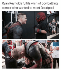 Funny, Deadpool, and Ryan Reynolds: Ryan Reynolds fulfills wish of boy battling  cancer who wanted to meet Deadpool Check out my other account @tanksgoodnews if you want to have your faith in humanity restored on a daily basis