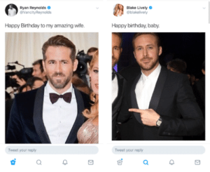 Anaconda, Birthday, and Savage: Ryan Reynolds  @VancityReynolds  Blake Lively  @blakelively  Happy Birthday to my amazing wife.  Happy birthday, baby  Tweet your reply  Tweet your reply srsfunny:  Savage 100
