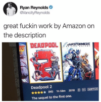 Amazon, Memes, and Deadpool: Ryan Reynolds  @VancityReynolds  great fuckin work by Amazon on  the description  DEADPOOLo  Deadpool 2  5.1  ★ (86) 1h59m 2018圓ー[SUBTITLES  The sequel to the first one. @drgrayfang is the greatest page on IG!