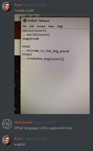 Coding for dummies.: Ryan! Today at 2:43 PM  I made code!  Untitled - Notepad  File Edit Format View Help  >hello(insert)  .World(insert)  >pagebreak  >html  welcome to the_dog pound  >htm15  .SCoobydoo.png (insert)  Hairybones Today at 2:44 PM  What language is this supposed to be  Ryan! Today at 2:44 PM  english Coding for dummies.