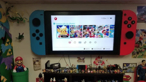 Party, Pokemon, and Mario: S:12  Pokemon Let's Go. Pkachut  Y  A  MA ART)  MARIO  PARTY  Fitne  oose Sotwa  O Conteue  WANTED The Switch Mini is just a handheld, the Switch Pro is the TV