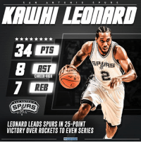 Memes, Sports, and Cbs: S A N  A N T 0 N I 0  S P U R S  34 PTS  B CAREER-HIGH  RER  SAN ANTON  SP FTS  LEONARD LEADS SPURS IN 25-POINT  VICTORY OVER ROCKETS TO EVEN SERIES  CBS SPORTS Kawhi did a whole lot of everything to get things even for the Spurs