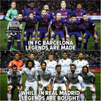 Barcelona, Memes, and Real Madrid: S akuten  rcas  TROLL  OOTBALLO  HD  IN FC BARCELONA  LEGENDS ARE MADE  OT  0  Emirates  rIv  Emira  nder  to  WHILEIN REAL MADRID  LEGENDS ARE BOUGHT Do you agree? 🤨👌😁