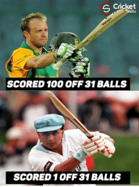 Memes, Cricket, and 🤖: S Cricket  SCORED 100 OFF 31 BALLS  SCORED 1 OFF 31 BALLS That's how much cricket has changed in last few years !