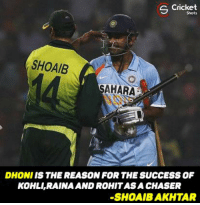 Agree ?: S Cricket  Shots  SHOAIB  AHARA  DHONI IS THE REASON FOR THE SUCCESS OF  KOHL,RAINA AND ROHITASA CHASER  SHOAIBAKHTAR Agree ?